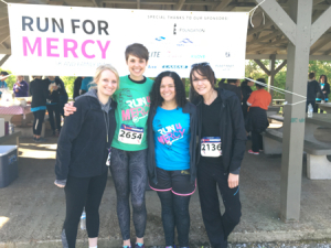 Mercy grad Heather (2nd from left) with other Mercy grads at Nashville's Run for Mercy