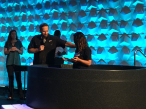 Mercy resident in the baptism tank
