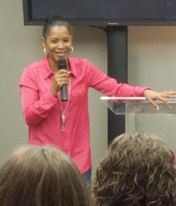 Karen speaking to Mercy residents