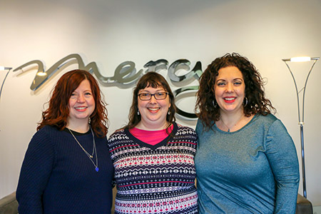 Long-time Mercy supporter Stephanie Cobb (center) recently toured Mercy's corporate headquarters with her friends, Christina McMillan (left) and Angela Hunt (right).