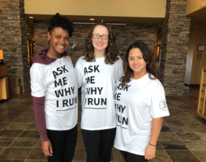 California Mercy residents model the new Run for Mercy t-shirts