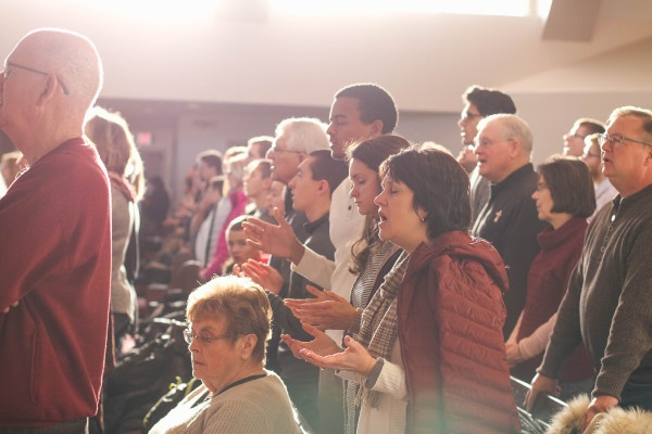 Church congregants worshiping