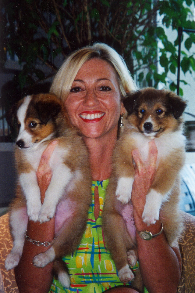 Nancy Alcorn with Sheltie puppies Jonah and Jude