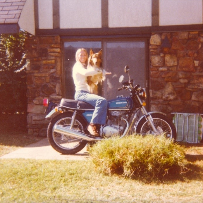Nancy Alcorn sitting on a motorcycle
